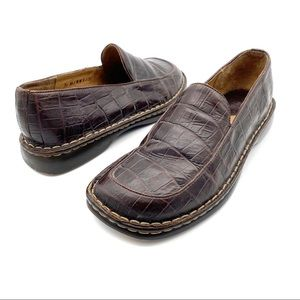 Born Brown Leather Croc Print Comfort Loafers 7.5